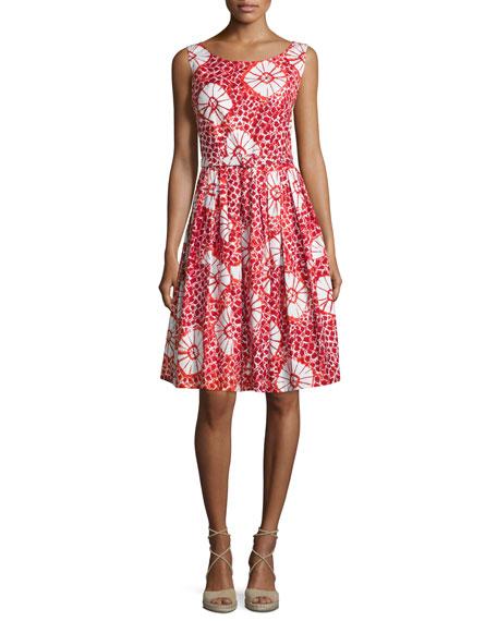 Rachel Sleeveless Tie-Dye Floral Dress, Red