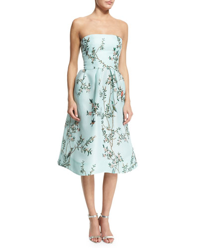 Strapless Bird-Print Silk Gazar Dress, Seafoam/Multi
