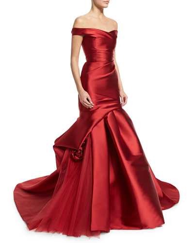 Off-the-Shoulder Ruched Mikado Gown, Dark Red