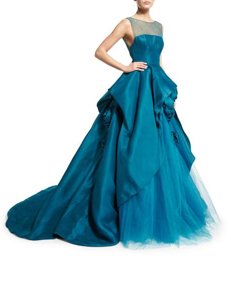 Sleeveless Illusion Silk Taffeta Ball Gown, Teal