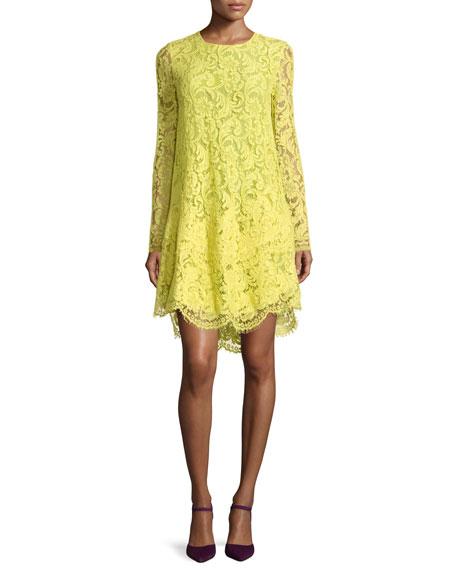 Long-Sleeve Lace Trapeze Dress, Citron