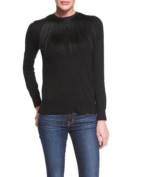 Long-Sleeve Fringed Crewneck Sweater, Black