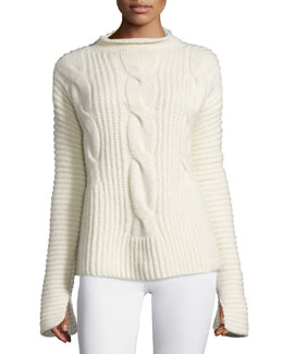 Cable-Knit Mock-Neck Sweater, White (Bianco)