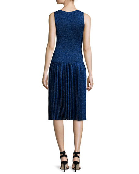 Sleeveless Metallic Pleated Dress, Navy