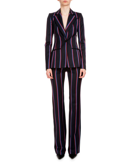 Striped Wool-Blend Boot-Cut Pants, Navy/Red