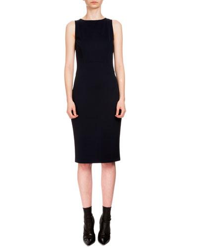 Sleeveless Techno Jersey Sheath Dress, Navy