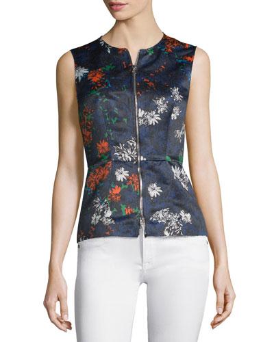 Sleeveless Floral-Print Zip-Front Top, Fantasia Blue