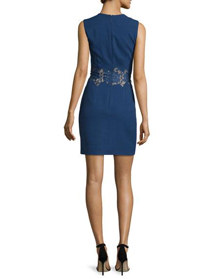 Sleeveless Crepe Sheath Dress w/Lace Inset, Navy