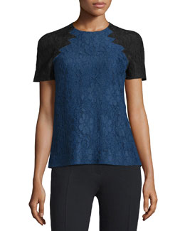 Floral Lace Top w/Contrast Sleeves, Navy
