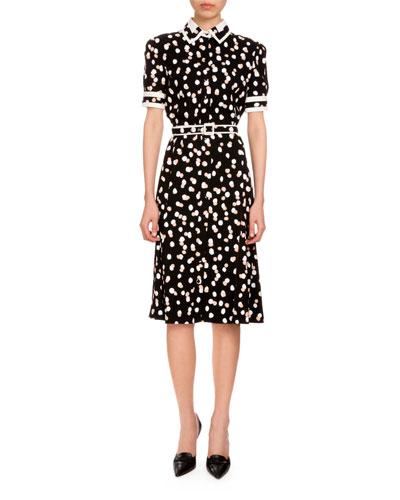 Ella Polka-Dot Short-Sleeve Shirtdress, Black