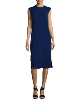 Sleeveless Two-Tone Sheath Dress, Fantasia Blue