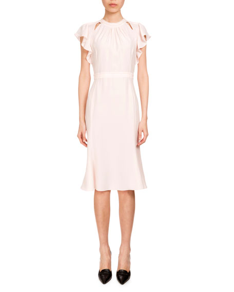 Ruffled Short-Sleeve Crepe de Chine Dress, Blush