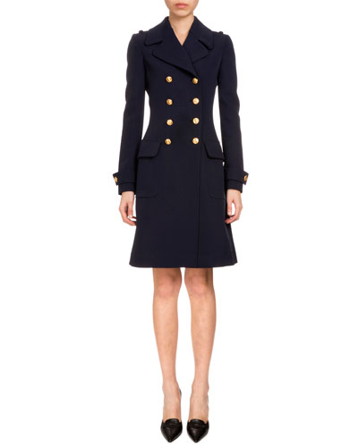Double-Breasted A-Line Wool Coat, Navy