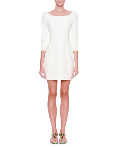 3/4-Sleeve Crepe Mini Dress, White