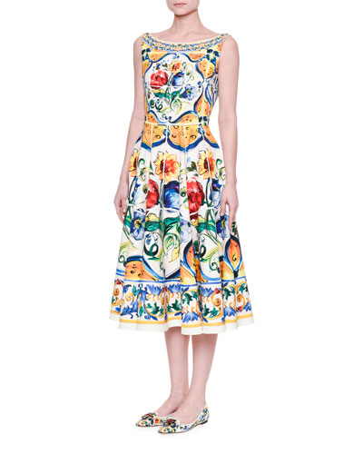 Boat-Neck Maiolica Tile-Print Dress