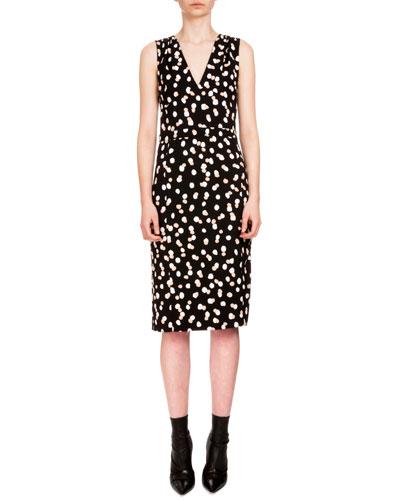 Genevieve Sleeveless Dot-Print Sheath Dress, Black