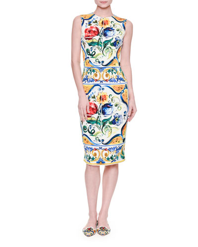 Sleeveless Maiolica Tile-Print Sheath Dress