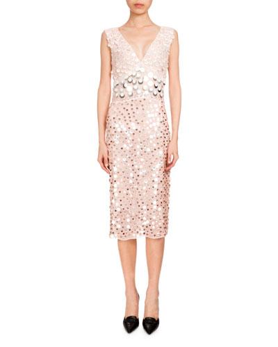 Genevieve Sequin-Embellished Cocktail Dress, Blush