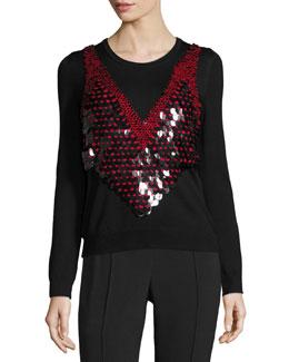 Paillette-Embellished Sweater, Black