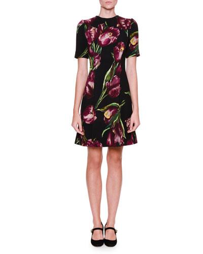 Fit-&-Flare Tulip-Print Dress, Black/Violet