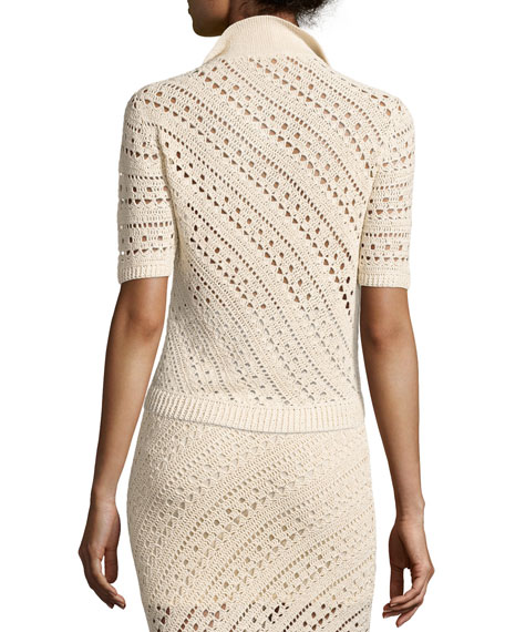 Crocheted Polo Sweater, Cream
