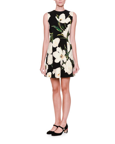Graphic Tulip-Print Shift Dress