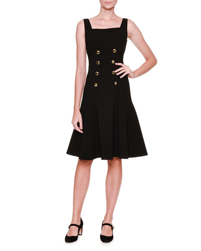 Sleeveless Square-Neck Button-Front Dress, Black (Nero)