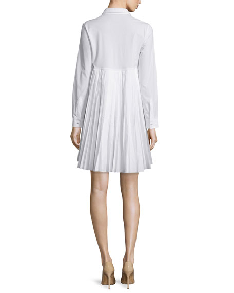 Sun Pleated Long-Sleeve Cotton Shirtdress, White
