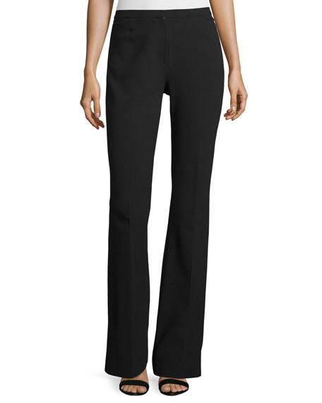 Monia Boot-Cut Stretch-Wool Pants, Black