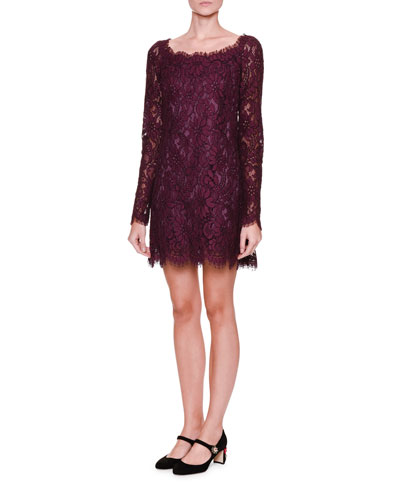 Long-Sleeve Lace Shift Dress, Dark Aubergine