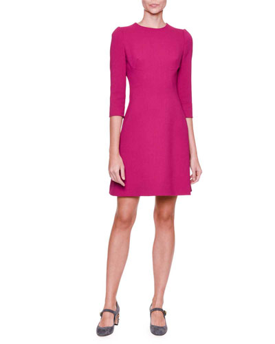3/4-Sleeve A-Line Dress, Fuchsia