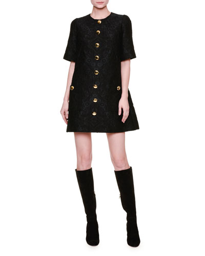 Short-Sleeve Button-Front Shift Dress, Black