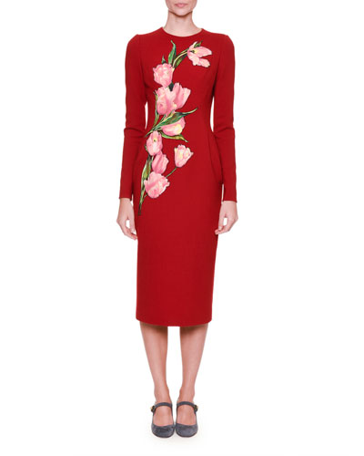 Long-Sleeve Pencil Dress w/Tulip Appliques, Red/Pink