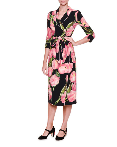4d95dabb Dolce & Gabbana Tulip-Print Pajama Wrap-Dress, Rose/Black