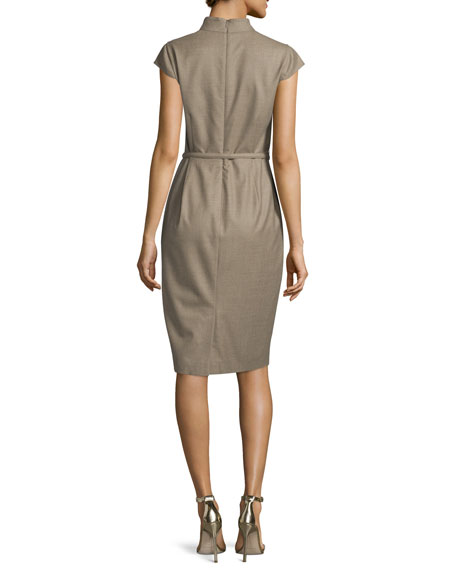 Trine Cap-Sleeve Belted Sheath Dress, Turtle Dove