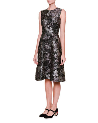 Sleeveless Metallic Jacquard A-Line Dress
