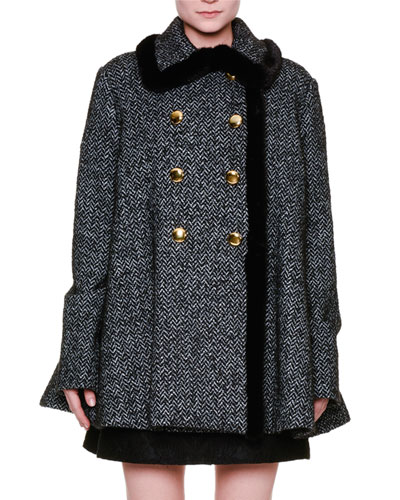 Herringbone Swing Coat w/Mink Fur Trim