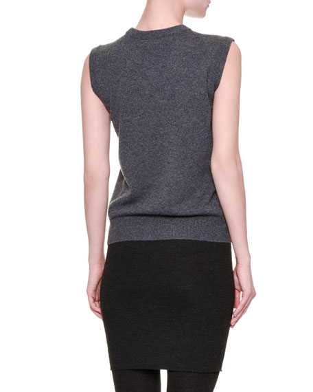 Sleeveless Knit Cashmere Sweater, Gray