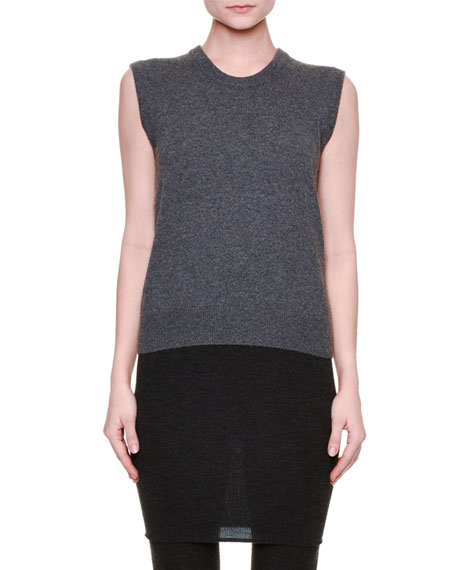 Sleeveless Knit Cashmere Sweater, Gray