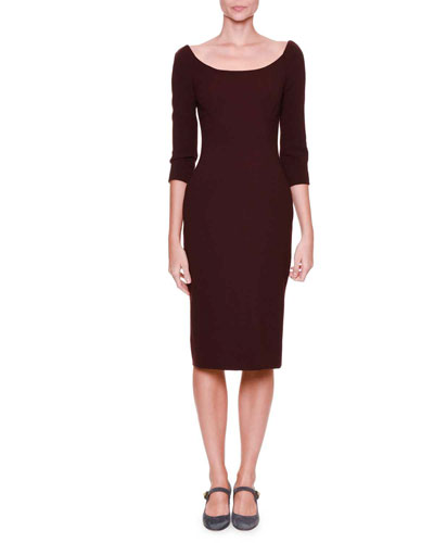3/4-Sleeve Crepe Sheath Dress, Eggplant