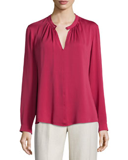Sabadel Long-Sleeve Silk Blouse, Fuchsia