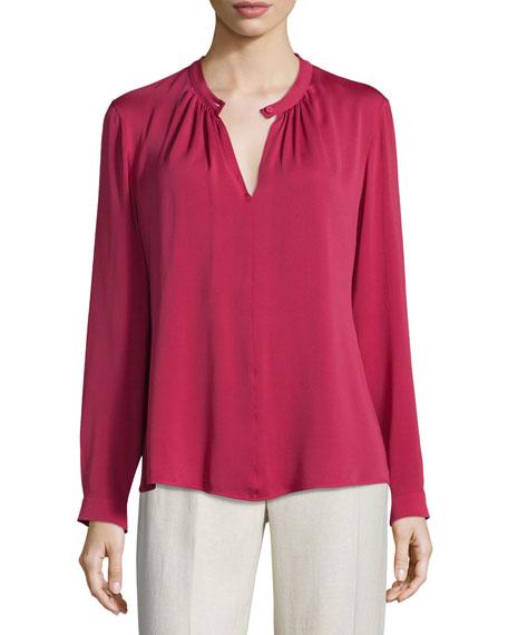 Sabadel Long-Sleeve Silk Blouse, Fuchsia