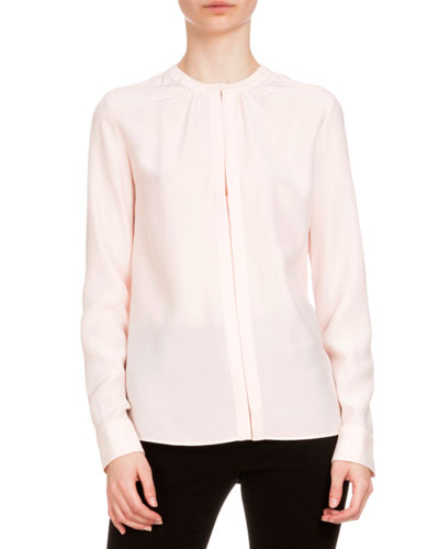 Marie Crepe de Chine Long-Sleeve Top, Blush