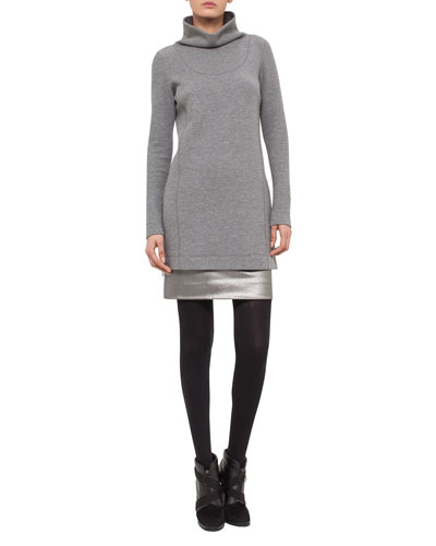 Long Melange Jersey Funnel-Neck Top, Cliff