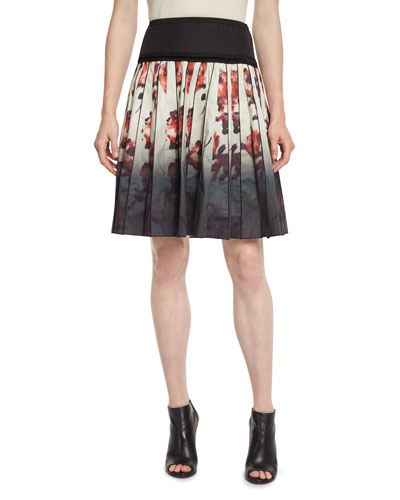 Pleated Abstract Floral A-Line Skirt, Cream