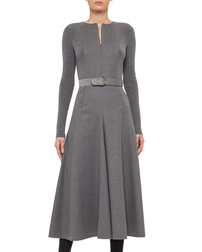 Long-Sleeve Belted Wool Midi Dress, Cliff