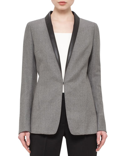 Flannel Blazer w/Faux-Leather Shawl Collar, Cliff