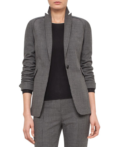 Mini-Houndstooth One-Button Jacket, Coal