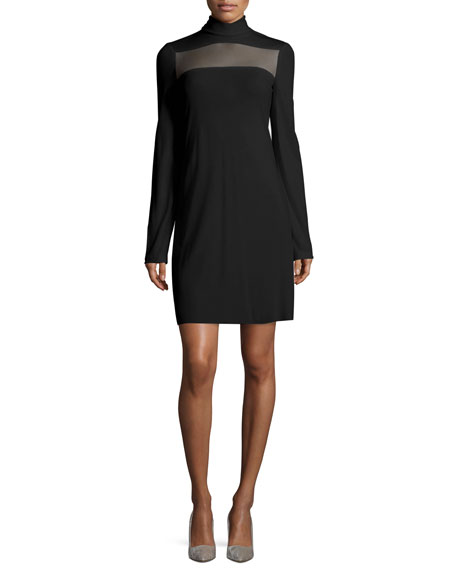 Long-Sleeve Sheer-Paneled Dress, Black