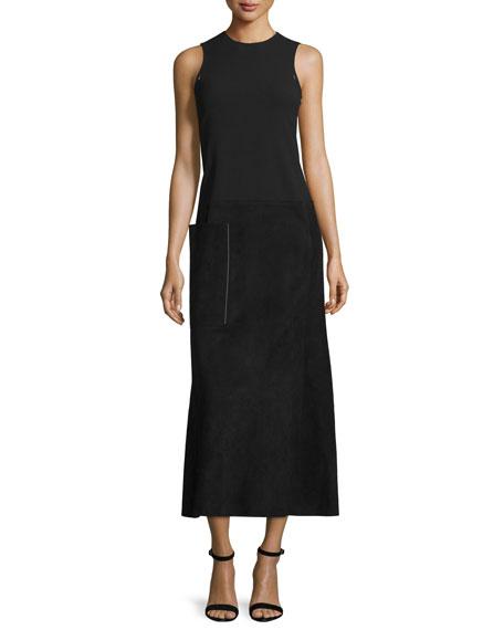 Calvin Klein Sleeveless Suede & Wool Midi Dress,